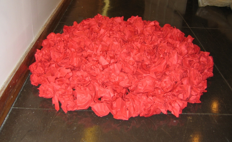 red-paper-sculpture